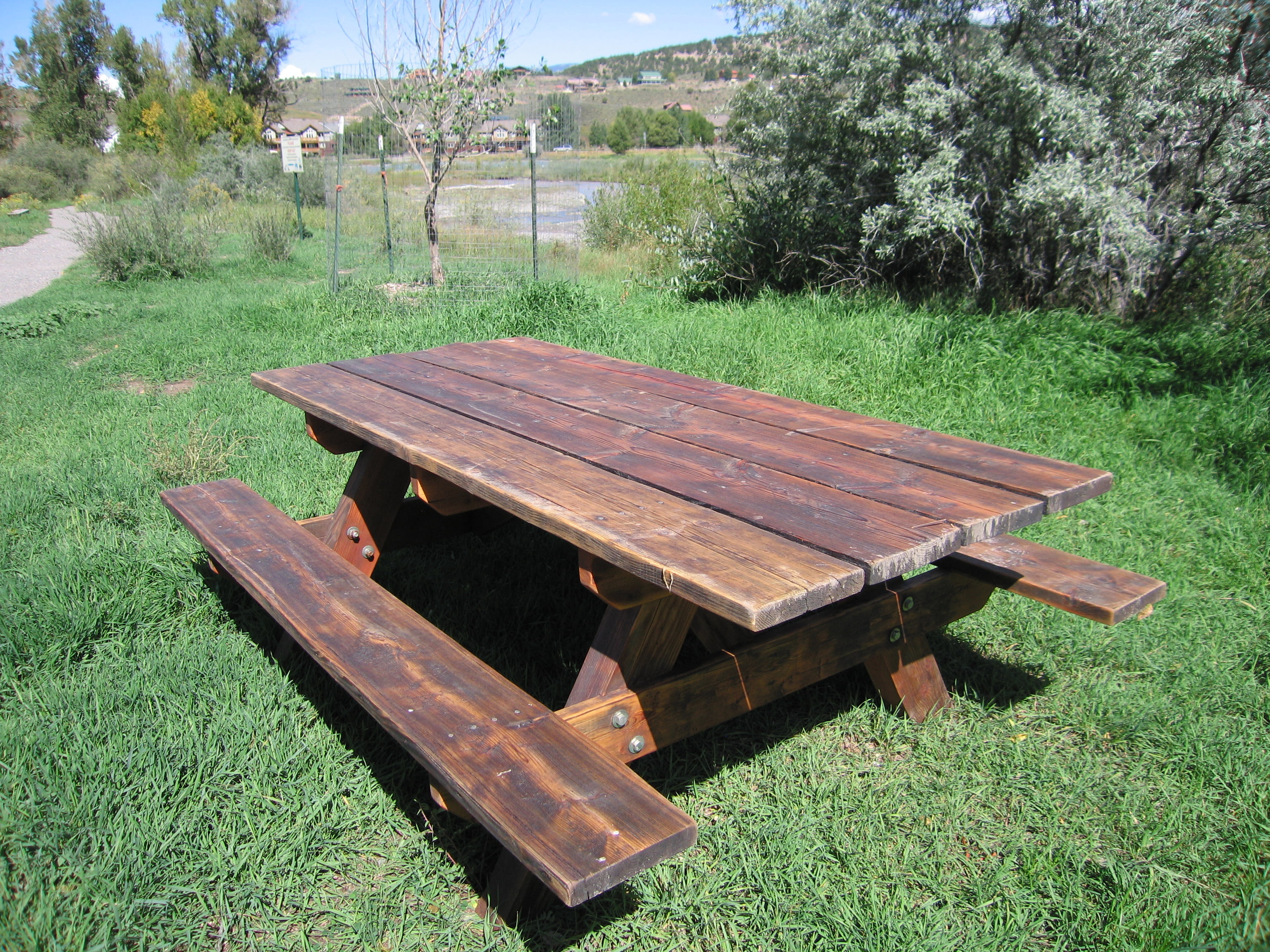 Stained Picnic Table Images Table Decoration Ideas